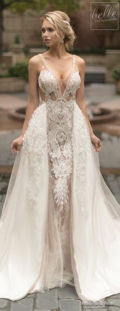 Naama and Anat Wedding Dress Collection 2019 - Dancing Up the Aisle - Salsa an elegant lace fitted s V Neck Wedding Dress, Black Wedding Dresses, Boho Wedding Dress, Bridal Dresses, Wedding Gowns, Detachable Skirt Wedding Dress, Mermaid Dresses, Dresses Elegant, Trendy Dresses