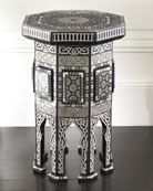 "Black ""Morrocan"" Table - Horchow from Horchow. Saved to For My New Mansion. Shop more products from Horchow on Wanelo. Morrocan Table, Morrocan Decor, Moroccan Bedroom, Moroccan Design, Moroccan Style, Moroccan Theme, Modern Moroccan, Table Seating, Wooden Tables"