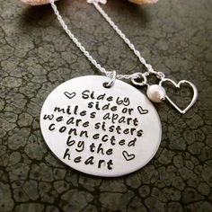 Sisters Jewelry Hand Stamped Necklace Sisters by DawnsMetalDesigns