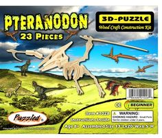 """3D Wooden Pteranodon Dinosaur Puzzle  $6.99  Description •Number of Pieces:23 •Assembled Size: 13""""Lx20""""Wx6.5""""H •The Pteranodon 3D wooden puzzle is a challenging and creative toy made of high grade 3mm natural wood and comes in a shrink-wrapped package with instructions and sandpaper included. This fine dinosaur is part of our pre historic collection, just match the numbers together 1 with 1, 2 with 2 and so on. After assembly you can paint, play, display or disassemble and enjoy the…"""