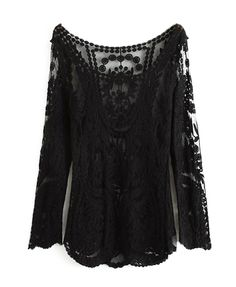 Black Lace Hollow Out Long Sleeve Embroidered Top @ ChicNova $35