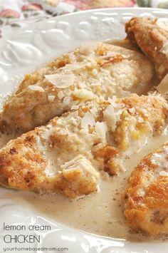 Lemon Cream Chicken is delicious, creamy and lemony! From yourhomebasedmom.com