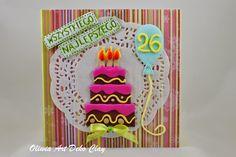 Oliwia Art Deco Clay: Modelinowa karta z tortem :)