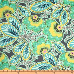 Amy Butler Home Décor Lark Floral Couture Charcoal - Discount Designer Fabric - Fabric.com