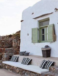 This house at Mykonos is a holiday destination, built eighteen years ago in traditional Cycladic architecture style. The interior of the house is done in Mediterranean Architecture, Mediterranean Homes, Outdoor Spaces, Outdoor Living, Outdoor Decor, Greek House, Interior And Exterior, Interior Design, My House