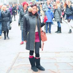 Simple winter outfit with a nice black coat