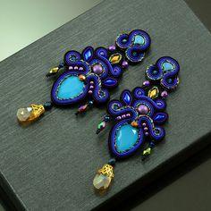 Soutache Earrings, Big Earrings, Rose Gold Earrings, Crystal Earrings, Beaded Necklace, Tassel Earrings, Chandelier Earrings, Statement Earrings, Shibori
