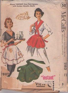 MOMSPatterns Vintage Sewing Patterns - McCall's 2182 Vintage 50's Sewing Pattern SNAZZY Holiday Hostess Retro Housewife Instant Easy Half Apron, Single or Double Layer Skirt, Straps, Metallic Embroidery Motifs One Size