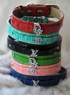 Leather Collar with Designer Rhinestone Charm