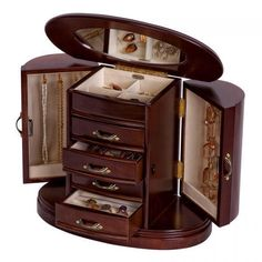 Wooden Jewelry Box With Walnut Finish, Rounded Design, Interior Mirror, Beautiful Design! Get Yours In My Ebay Store Now!