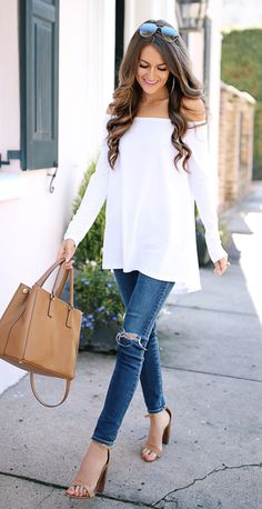 Off the shoulder tee in white