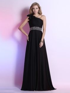 Gorgeous One Shoulder Black Elastic Woven Satin with Bow and Crystal Prom dresses #UKM02023112
