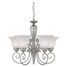 $151.20 Paint in oil rubbed bronze finish for parlor. 18.25H x 22.75 Dia 5X 60 watt bulbs, pewter finish.  Cast a warm glow over your foyer or dining table with this eye-catching chandelier, showcasing 5 lights and a scrollwork design.    Pro...