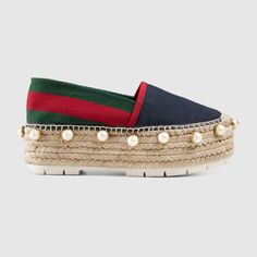 Gucci Women - Linen studded espadrille. Platforms are back this fall (affiliate)