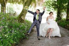 Yipeeee! Love seeing total happiness in celebrating your wedding day! Groom also wearing cool green tie. Captured by fun wedding photographer and fab Shine client @tuxandtales  #Repost @tuxandtales  When you met each other at the Ministry of Silly walks.....