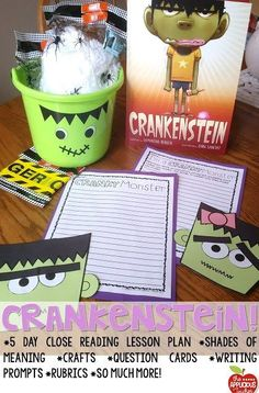 Close reading with Crankenstein. Perfect idea for right around Halloween. So many kids can relate to this book!