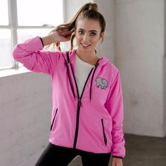 Neon Pink Zip Up Windbreaker