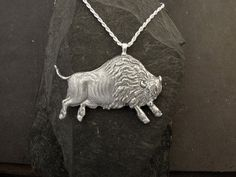 Sterling Silver American Buffalo Bison Pendant on a by peteconder