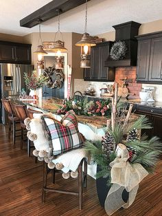 Farmhouse Christmas Kitchen – The. Christmas Kitchen, Christmas Home, Xmas, Christmas Staircase, Christmas Living Room Decor, Cabin Christmas Decor, Outdoor Christmas, Rustic Christmas, White Christmas