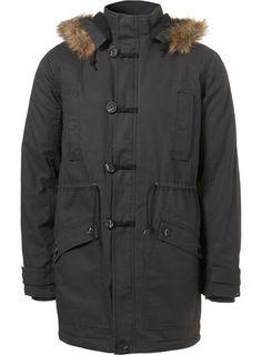 Charcoal Fur Hood Parka