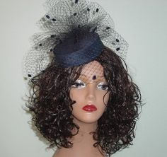 This Mini Pillbox Wedding Hat is covered with silk dupioni fabric and measures about 5 inches in diameter. It has a pouf of chenille dot French veiling and a small birdcage veil measuring 9 inches Wedding Hats, Casual Wedding, Wedding Veil, Wedding Themes, Blue Wedding, Pill Boxes, Hats For Women, Ladies Hats, Bridal Headpieces