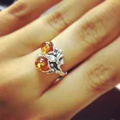 Genuine Sterling Silver Baltic Amber Ring in Leaf Design $39