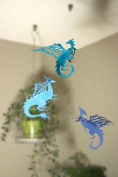 Hanging Dragons Room Decoration Game of Thrones Party Blue