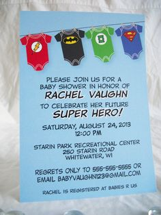 Super Hero (Justice League) Baby Shower Invitation-Printable by SugarTreePress on Etsy Marvel Baby Shower, Superhero Baby Shower, Baby Shower Games, Baby Boy Shower, Shower Party, Baby Shower Parties, Shower Gifts, Baby Showers, Shower Bebe