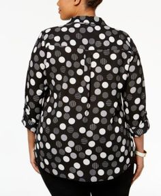 Ny Collection Plus Size Printed Utility Blouse - Black 2X