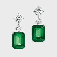 Harry Winston Three stone emerald and diamond drop earrings, price upon request For information: harrywinston.com -