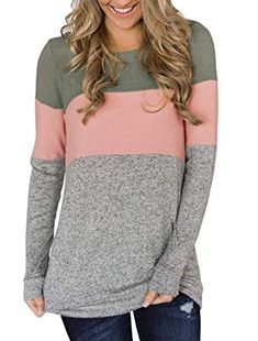 3ab846f21d5 Minthunter Women s Long Sleeve Color Block Cute Shirt Round Neck Casual  Tops     You