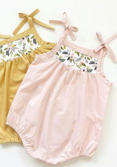 Handmade Vintage Style Baby Rompers With Floral Detail   SwallowsReturn on Etsy #bohobabyclothes