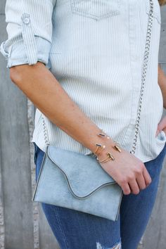 light blue mini bag