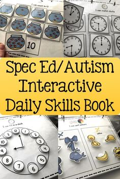 This resource is perfect for any Special Needs / Autism setting. The book comes in; UK, USA, CANADIAN and AUSTRALIAN options. This interactive daily skills work book contains 62 different activities and over 100 pages. This work book targets a huge range Special Education Activities, Autism Activities, Autism Resources, Special Education Classroom, Educational Activities, Classroom Activities, Sorting Activities, Tes Resources, Teacher Education