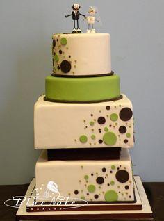 robots and polka dots - green & brown wedding cake | Blue Note Bakery - Austin, Texas