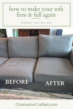 How to stuff sofa cushions & give new life to a saggy couch! is part of Diy home decor projects - Our inexpensive sofa is only three years old but is saggy and uncomfortable I decided to DIY restuff the couch cushions to fluff and reshape the couch Tips And Tricks, Furniture Repair, Furniture Makeover, Sofa Makeover, Outdoor Lounge, How To Make Sofa, Do It Yourself Decoration, Diy Home Repair, Up House