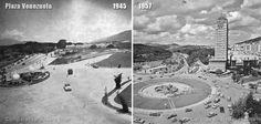 Dos vistas de Plaza Venezuela, casi desde el mismo ángulo, en 1945 y 1957; dos de los primeros cinco proyectos de esta céntrica plaza caraqueña. En la versión de 1945 están los venados que luego se mudarán a Pza. La Estrella, en San Bernardino. En la de 1957 está el conjunto escultórico de Maragall, actualmente en el Parque Los Caobos. Plaza, Spaceship, Sci Fi, Gift, Red Roof, Caracas, Beautiful Places, Star, Past Tense