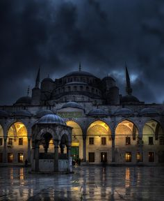 Istanbul nights. This (the Blue Mosque) or Hagia Sophia would be amazing to see on a stormy night!
