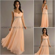 Aliexpress.com : Buy Sexy Chiffon with Cap Sleeves Long Prom Dresses from Reliable chiffon prom dress suppliers on HONEYSTORE CO., LIMITED $311.78