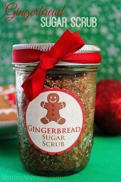 DIY Gingerbread Sugar Scrub - includes printable labels. Great homemade Christmas gift idea!