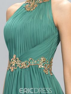 2019 New Green Prom Dresses Halter Crystal Beads Ruffles A Line Long Modest Formal Evening Party Pageant Woman Gowns Cheap Custom Made Stylish Dresses, Elegant Dresses, Pretty Dresses, Formal Dresses, A Line Evening Dress, Evening Dresses, Cheap Mermaid Prom Dresses, Cheap Gowns, Prom Dresses Online