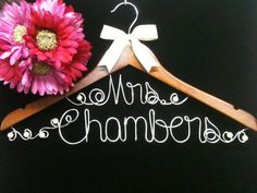 Unique Two Lines  Personalized  Bride Hanger for Wedding by AllegroArt, $45.00