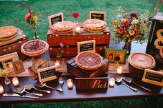 Valley Wedding Shenandoah Valley Wedding - Lovely dessert table set-up. We will also be serving pies for dessert. :)Shenandoah Valley Wedding - Lovely dessert table set-up. We will also be serving pies for dessert. Pie Bar Wedding, Wedding Desserts, Wedding Catering, Wedding Table, Wedding Cakes, Wedding Decorations, Wedding Reception, Reception Food, Wedding Ideas