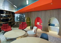 The Theory Behind Wacky Modern Office Design Corporate Interiors, Office Interiors, Interior Office, Google Headquarters, Google Office, Commercial Office Design, Office Lounge, Office Meeting, Office Reception