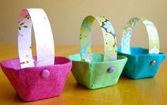 Lavoretti di Pasqua per i bambini della scuola dell'infanzia - Cestini di stoffa e cartone