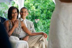 1st Lady Michelle Obama With President Barak Obama @ A Wedding.... Luv Them...