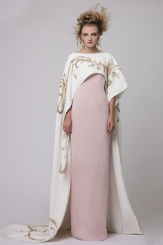 """Azzi & Osta Couture Fall/Winter 16/17   """"Promises Of Dawn""""    Pink, White Cape, Dress, Crepe, Hand Embroidery, Metallic Gold Thread"""