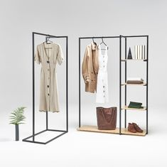 Most elegant and modern steel and plywood retail display is back! Boutique Interior, Clothes Rail With Shelves, Store Displays, Retail Displays, Window Displays, Display Shop, Plywood Shelves, Retail Store Design, Tiny Homes