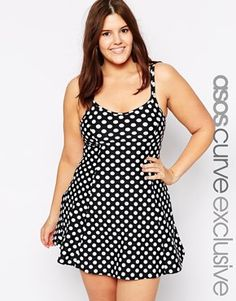 7c6e76c397 ASOS CURVE Exclusive Swim Dress In Spot Print at asos.com