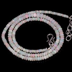 "34CRTS 3to5MM 18"" ETHIOPIAN OPAL RONDELLE BEAUTIFUL BEADS NECKLACE OBI1071 #OPALBEADSINDIA"